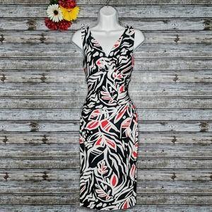 L Ralph Lauren | Leaf Print Surplice Bodycon Dress